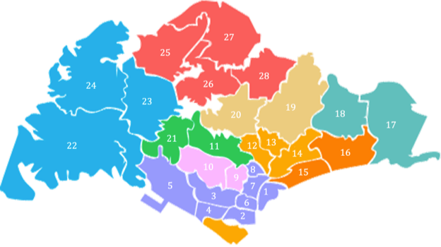 SingaporeDistrictCode MapDemarcation624x350 - Properties in District 15 (East Coast/Marine Parade), Why Are They So Popular?